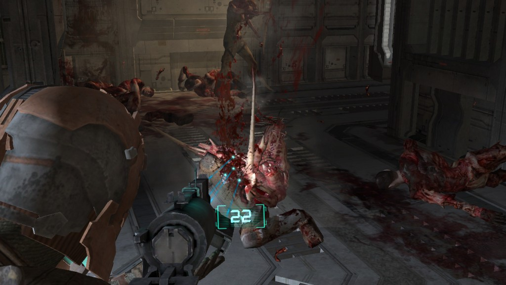 Even at minimal graphics settings, the amount of gory detail in Dead Space is disgusting.