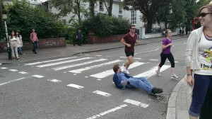Taking a picture at Abbey Road is dangerous work.